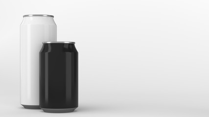 Big white and small black soda cans mockup