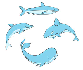Set of vector underwater life with whale, shark, narwhal and dolphin. Sea creatures isolated on the white background.
