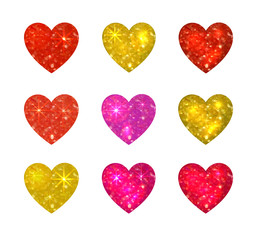 Collection of VECTOR glitter hearts isolated on white background, love icons set.