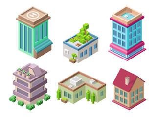 Isometric residential buildings and city houses vector illustration 3d architecture objects for construction design. Residential building, office or hotel residence towers isolated isometric icons set