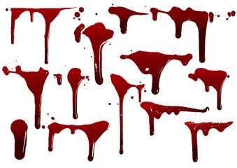 collection various blood or paint splatters,Halloween concept