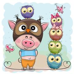 Cute Cartoon Pig and five Owls