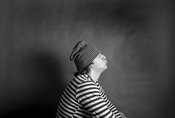 мужчина моряк портрет чёрно-белая фотография