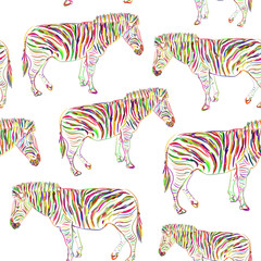 Rainbow Zebra portrait seamless pattern sketch isolated on white background. Vector