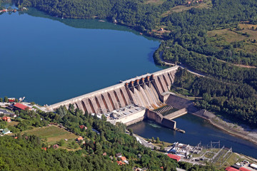 Fotobehang Dam hydroelectric power plant on river landscape summer season