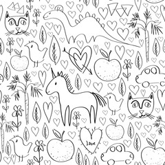Girls birthday pink seamless pattern with animals and hearts black outline isolated on white background for site, blog, coloring book, fabric. Vector