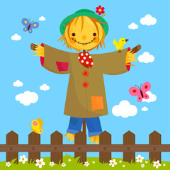 Scarecrow cartoon in a green meadow landscape behind a wooden fence.