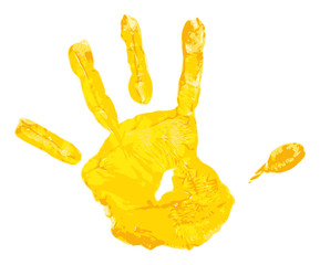 yellow children hand print
