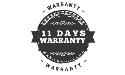 11 days warranty icon vintage rubber stamp guarantee
