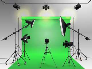 Photography studio vector. Photo studio green blank background with soft box light, camera, tripod and backdrop. Vector illustration. Isolated on white background
