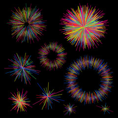Set of colorful fireworks radiating from the center of thin beams, lines. Abstract explosion, speed motion lines from the middle, radiating sharp. Vector illustration. Isolated on black background