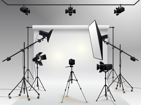 Photography studio vector. Photo studio white blank background with soft box light, camera, tripod and backdrop. Vector illustration. Isolated on white background