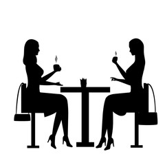 Business woman. A woman sits in a cafe at a table and drinks a coffee. Black silhouette of a girl sitting at a table in a cafe. Vector illustration of people. Black icons.