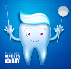 Helthy Tooth with Toothpaste and Shining Mirror. Cartoon Character. Stomatology Instruments Design Template. Dental Health Concept. Oral Care.