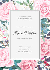 The classic design of a wedding invitation with flowering roses, plants, white flowers and leaves. Elegant vertical card template. Vector illustration.