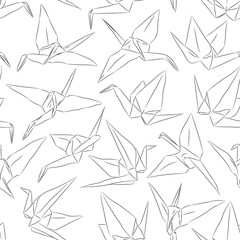 Japanese Origami white paper cranes set sketch seamless pattern, symbol of happiness, luck and longevity, black line contour on white background. Vector