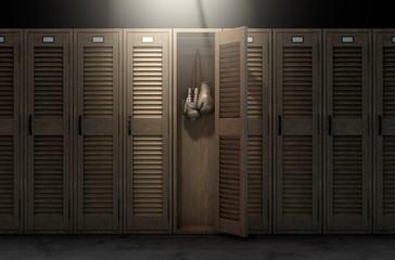 Boxing Gloves In Vintage Locker