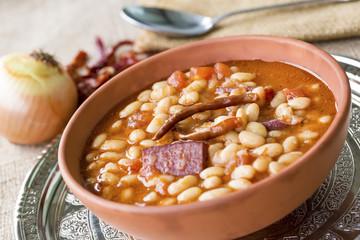 Turkish foods; dried bean (kuru fasulye)
