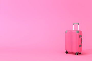 Wall Mural - Luggage on pink background with copy space. minimal concept