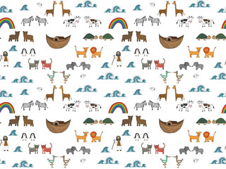 Vector seamless pattern with Noah's Ark concept, Bible story for kids, cartoon vector ornament