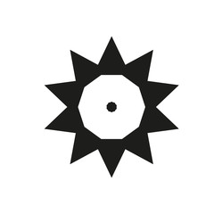 Ten sides pointed star logo black sun template dot triangles