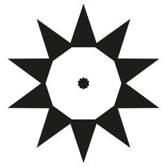 Ten sides pointed star logo black sun template dot triangle big