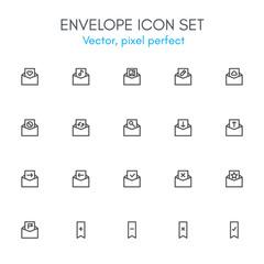 Envelope theme, line icon set.