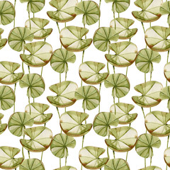 Watercolor water lily leaves seamless pattern, hand painted on a white background