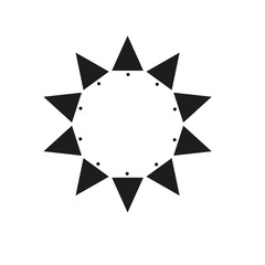 Ten sides pointed star logo black sun template dots