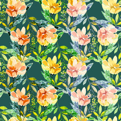 Spring flowers watercolor, seamless pattern backgound
