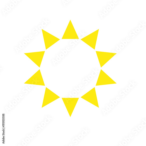 ten sides decagon pointed star logo yellow sun template triangles