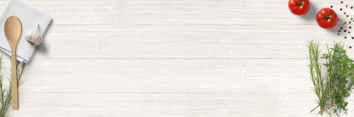 Türaufkleber Aromastoffe Küche und Kochen - klassische Zutaten - Banner / Hintergrund