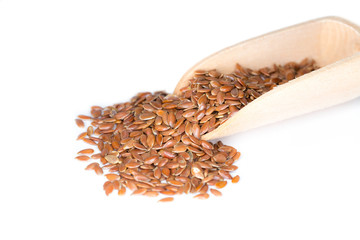 Closeup of flaxseeds presented on a small wooden scoop