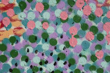 Color dots with paint closeup
