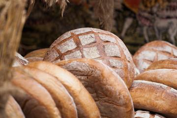 Bread, fresh bread market, sale of natural bread.