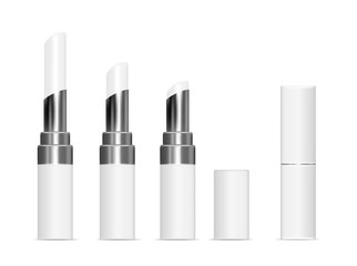 White tubes with white lipstick. Vector mock up