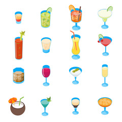 Cocktail Drink 3d Icons Set Isometric View. Vector