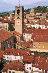 The clock tower  of il Campanone, view from Torre del Gombito, Bergamo, Lombardy, Italy, Eurpe