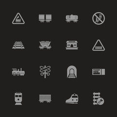 Trains icons - Gray symbol on black background. Simple illustration. Flat Vector Icon.