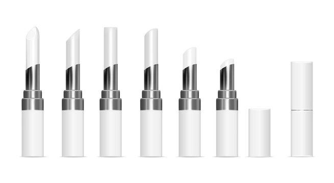 White tubes with white lipstick. Vector mock up set.