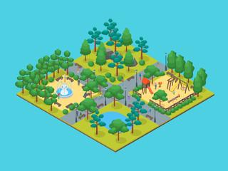 Foto auf Acrylglas Turkis Green City Park Concept 3d Isometric View. Vector
