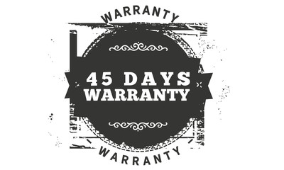 45 days warranty icon vintage rubber stamp guarantee