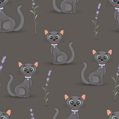 Cute cats with the collar colorful seamless pattern background with lavender on grey background. Cartoon vector wallpaper for fabric, notebooks, notebooks.