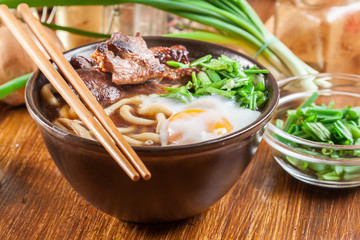 Japanese Udon noodles with beef, egg, green onion and soup