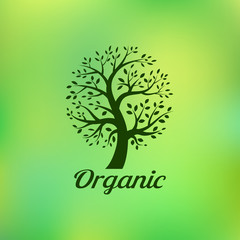 Organic green tree logo, eco emblem, ecology natural symbol. Vector illustration.