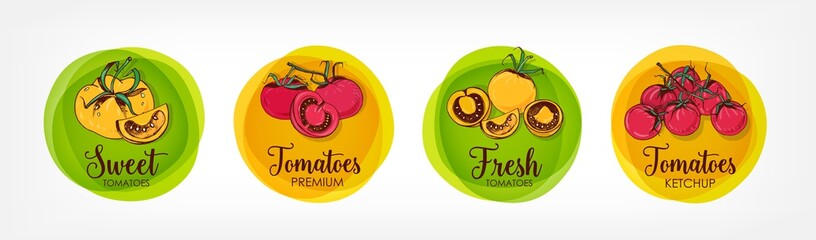Collection of bright colored round labels for tomatoes, ketchup and related premium products. Bundle of circular tags with colorful hand drawn organic vegetables. Vector illustration for veggie food.