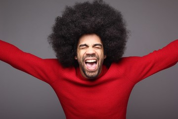 Happy man with afro
