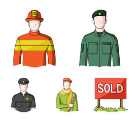 Military, fireman, artist, policeman.Profession set collection icons in cartoon style vector symbol stock illustration web.
