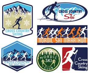 Cross country ski nordic skiing  editable vector badges silhouette collection for logo  stickers shirts ecc.