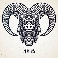 Beautiful line art filigree zodiac symbol. Black sign on vintage background.Elegant jewelry tattoo.Engraved horoscope symbol.Doodle mystic drawing with calligraphy lettering.Aries